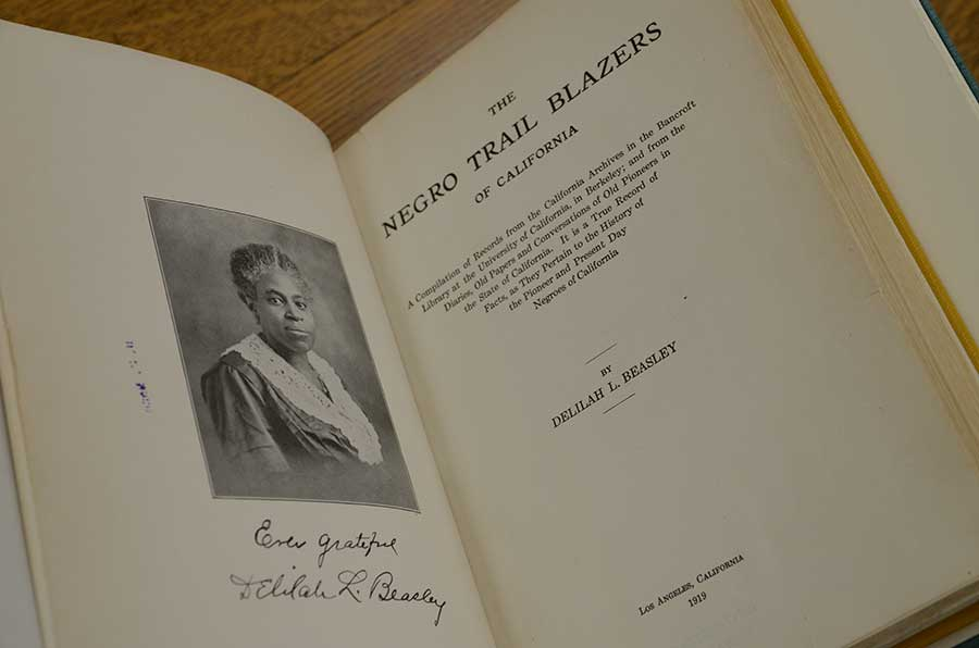 Title page of Delilah Beasley's The Negro Trail Blazers of California, 1919. Photo by Lisa Blackburn.