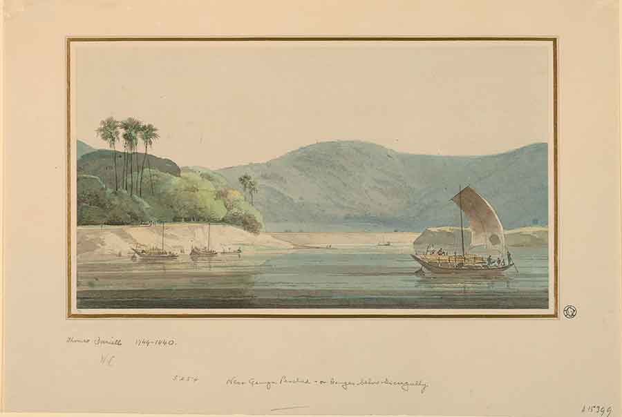 Thomas Daniell (British, 1749–1840), On the Ganges, ca. 1788, watercolor, Gilbert Davis Collection, 59.55.398.