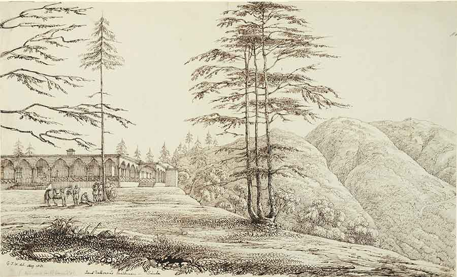 Col. George Francis White (British, 1808-1898), Lord Dalhousie's Residence, Simla, 1831, pen and ink, 91.242.