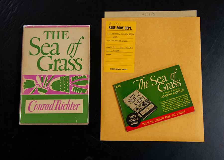 The colorful original cover artwork of Conrad Richter's Sea of Grass (left) is reproduced in monochrome on the cover of the standard layout of the Armed Services Edition of the same work (right). The Huntington Library, Art Collections, and Botanical Gardens. Photo by Deborah Miller.
