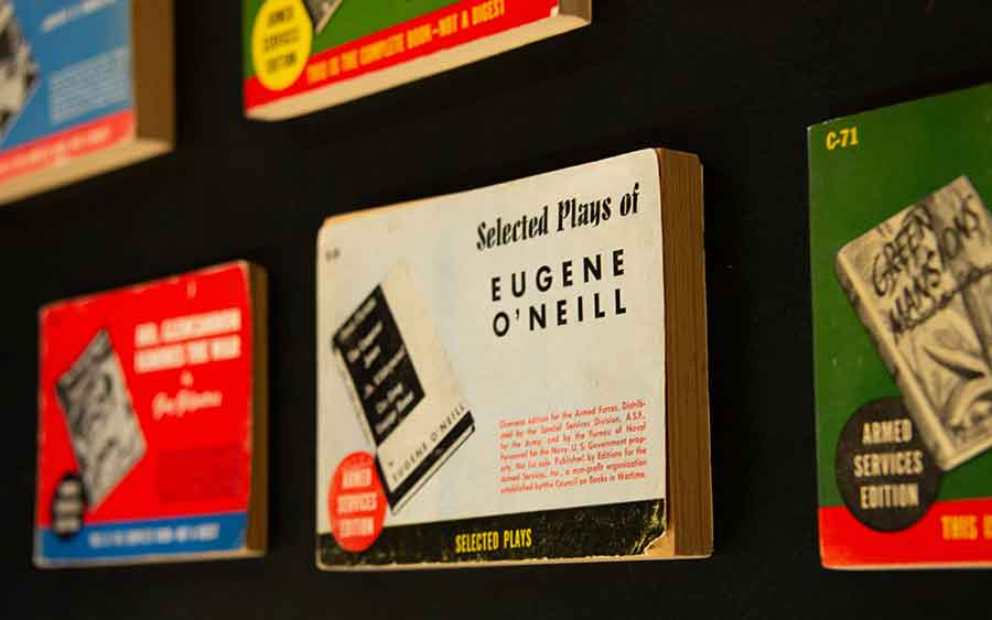"The ""serious"" titles selected for the Armed Services Editions, such as the selected plays of celebrated playwright Eugene O'Neill, influenced the popularity of paperback books in genres other than dime-store fiction after World War II. The Huntington Library, Art Collections, and Botanical Gardens. Photo by Deborah Miller."