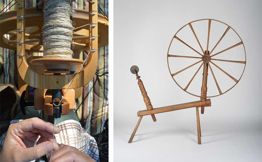 Left: Using a spinning wheel, Fernandez spins flax fibers into thread. Photo by Kelly Fernandez. Right: Spinning wheel, American, early 18th century, wood and paint. Gift of Jonathan and Karin Fielding. The Huntington Library, Art Museum, and Botanical Gardens.
