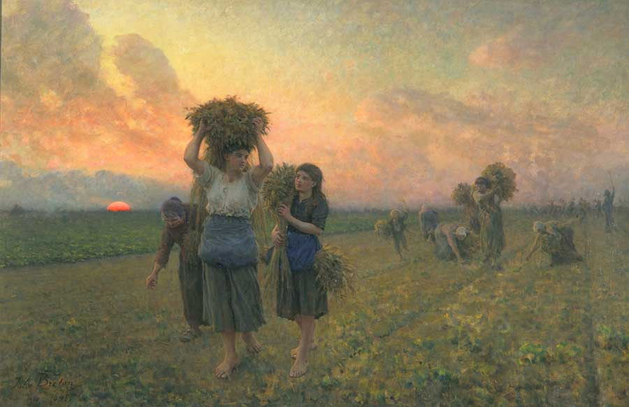 Jules Adolphe Aimé Louis Breton, The Last Gleanings, 1895, oil on canvas, 36 1/2 x 55 in. (92.7 x 139.7 cm.). The Huntington Library, Art Museum, and Botanical Gardens.