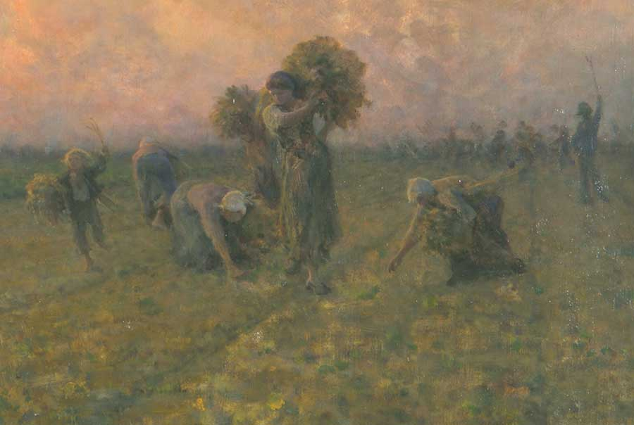 Where the planted rows converge at the horizon, behind this group of six gleaners, the harvesters walk away as they leave the field. Perhaps the man on the far right has raised his stick to signal the end of the workday. Jules Adolphe Aimé Louis Breton, detail of The Last Gleanings, 1895, oil on canvas, 36 1/2 x 55 in. (92.7 x 139.7 cm.). The Huntington Library, Art Museum, and Botanical Gardens.