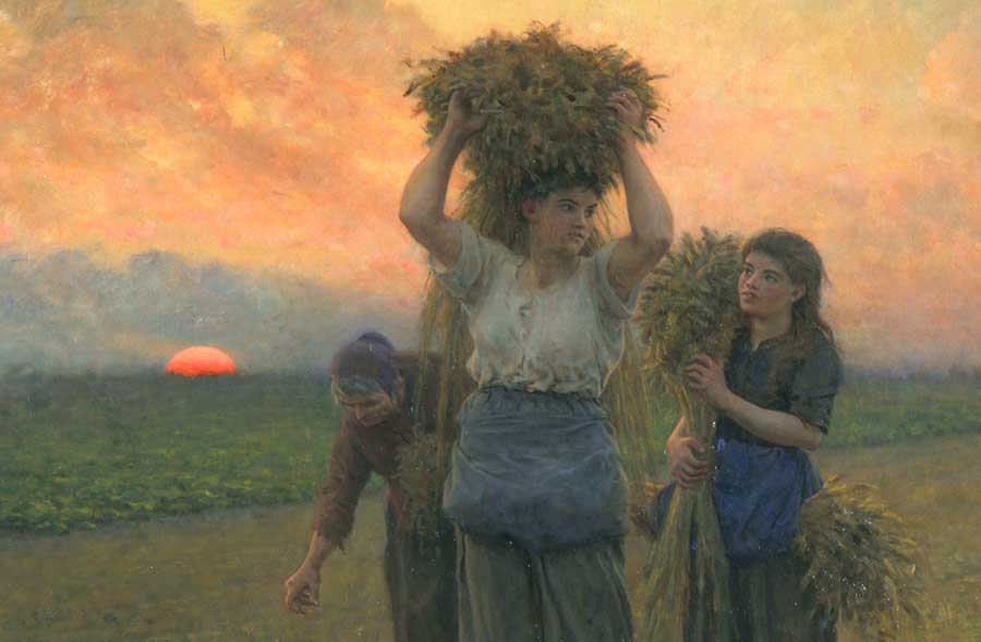 These three women represent the three ages of humankind—youth, maturity, and old age. Jules Adolphe Aimé Louis Breton, detail of The Last Gleanings, 1895, oil on canvas, 36 1/2 x 55 in. (92.7 x 139.7 cm.). The Huntington Library, Art Museum, and Botanical Gardens.