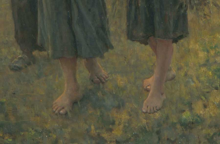 Viewers might not recognize the poverty of the female gleaners if it were not for their bare feet. Jules Adolphe Aimé Louis Breton, detail of The Last Gleanings, 1895, oil on canvas, 36 1/2 x 55 in. (92.7 x 139.7 cm.). The Huntington Library, Art Museum, and Botanical Gardens.