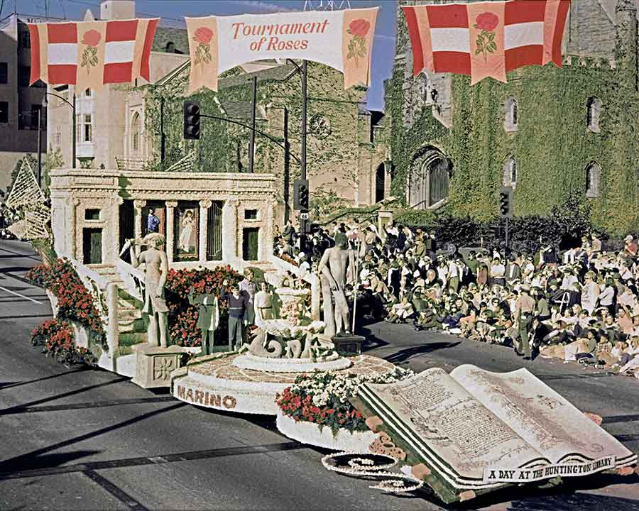 Legendary float builder Isabella Coleman designed the 1969 float that marked The Huntington's 50th anniversary. The 55-foot-long entry won the Grand Marshal's trophy for exceptional merit in a noncommercial entry. The Huntington Library, Art Museum, and Botanical Gardens.