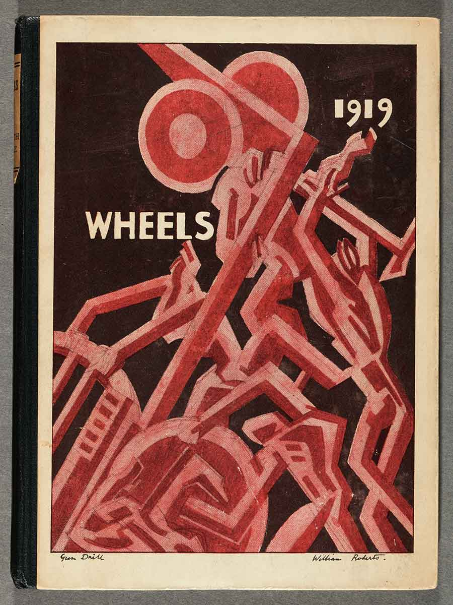 "William Roberts, ""Gun Drill,"" cover illustration for the modernist poetry anthology Wheels 1919, edited by Edith Sitwell. Roberts, a British artist associated with the Vorticist movement, served as a gunner in World War I. The Huntington Library, Art Museum, and Botanical Gardens."