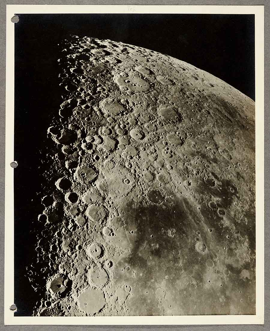 South Central Portion of the Moon at Last Quarter, Made with 100-inch Reflector, September 15, 1919, gelatin silver print, 9 1/2 x 7 1/2 in. The Huntington Library, Art Museum, and Botanical Gardens.
