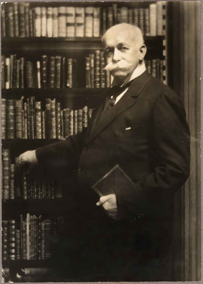 Arnold Genthe, Henry E. Huntington in the Library of His New York Residence, ca. 1917, gelatin silver print, 9 3/4 x 6 7/8. The Huntington Library, Art Museum, and Botanical Gardens.