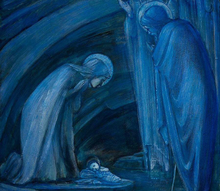 Detail of the lower portion of The Nativity, by Edward Coley Burne-Jones (1833–1898), in which Mary, Joseph, and a small group of angels gaze at the infant Jesus in wonderment. The Huntington Library, Art Collections, and Botanical Gardens.