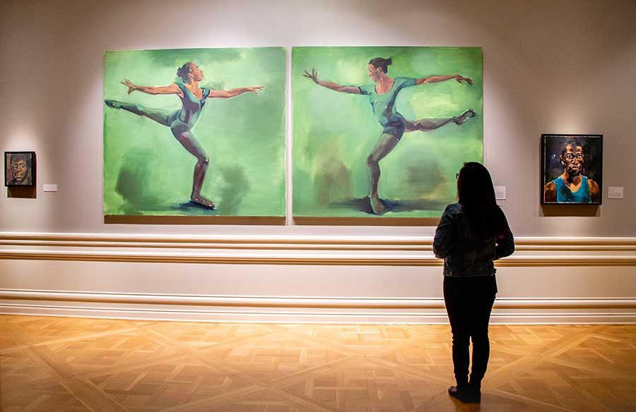 "The exhibition ""The Hilton Als Series: Lynette Yiadom-Boakye"" is on view through May 11 in the Huntington Art Gallery. Photo by Deborah Miller."