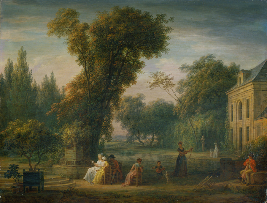 Painting of landscape with people in the foreground