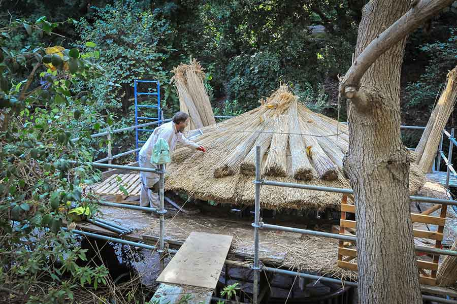 The art of thatching requires carefully placing reeds in layers so the roof becomes insulating and water resistant. Photo by Andrew Mitchell.