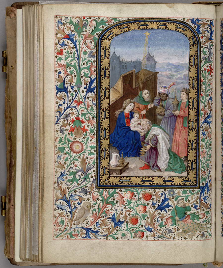Illustration in a prayer book that once belonged to Mary, Queen of Scots (1542–1587), Adoration of the Magi, Huntington Manuscript 1200, folio 67 verso. The Huntington Library, Art Collections, and Botanical Gardens.
