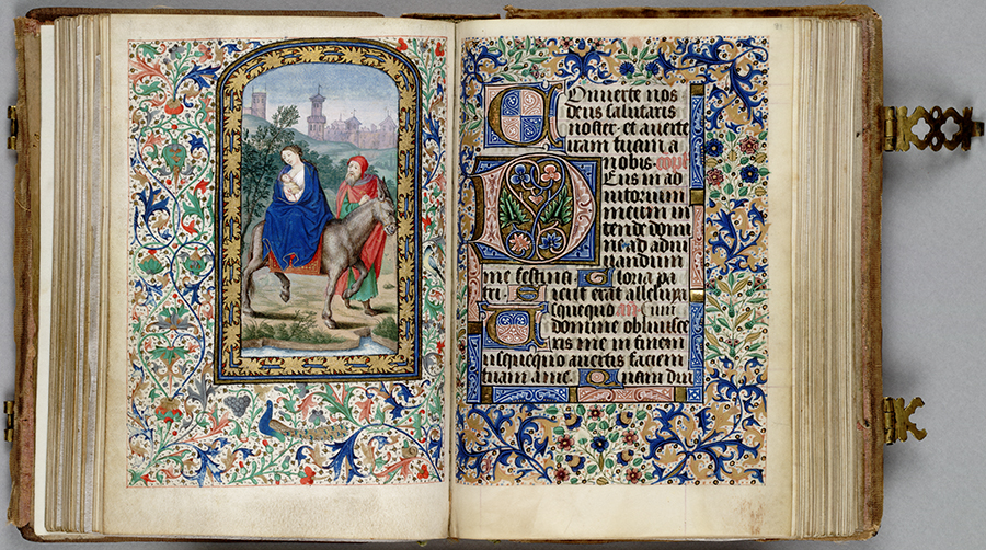Flight into Egypt, Huntington Manuscript 1200, folios 80 verso and 81. The Huntington Library, Art Collections, and Botanical Gardens.