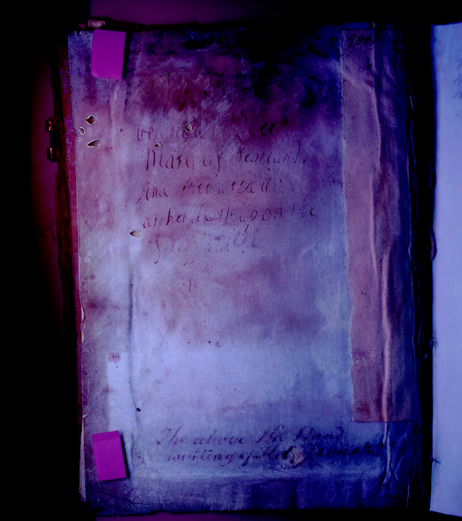 "Inscription, under a blacklight, attributed to King James II (1633–1701), grandson of the Scottish Queen Mary: ""This Book belonged to Queen Mary of Scotland And shee used it at her death upon the Scaffold."" Huntington Manuscript 1200, ii verso. The Huntington Library, Art Collections, and Botanical Gardens."