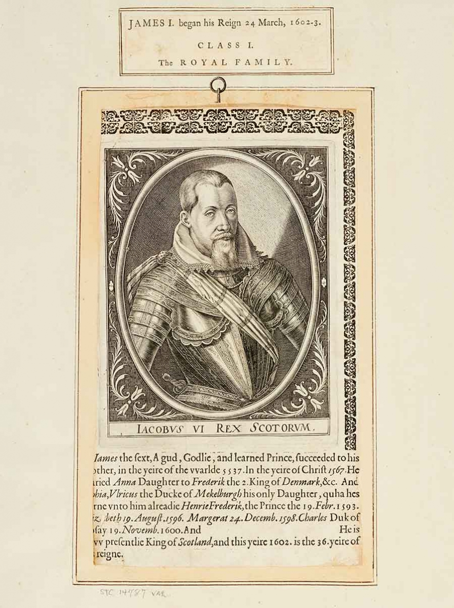 Engraving of James I, from Biographical History of England, from Egbert the Great to the Revolution, 1769, extra-illustrated by Richard Bull (1725–1806). The Huntington Library, Art Collections, and Botanical Gardens.