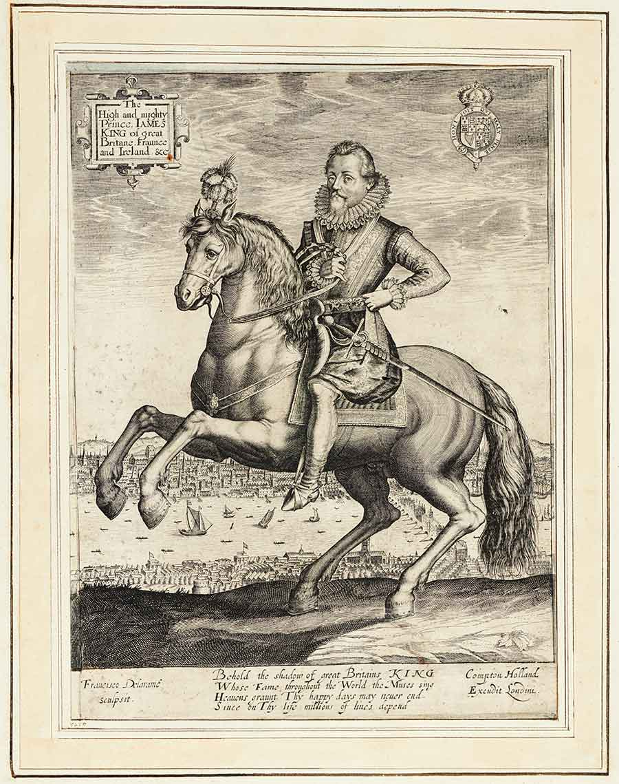 Engraving of James I on horseback with the City of London behind him, from Biographical History of England, from Egbert the Great to the Revolution, 1769, extra-illustrated by Richard Bull (1725–1806). The Huntington Library, Art Collections, and Botanical Gardens.