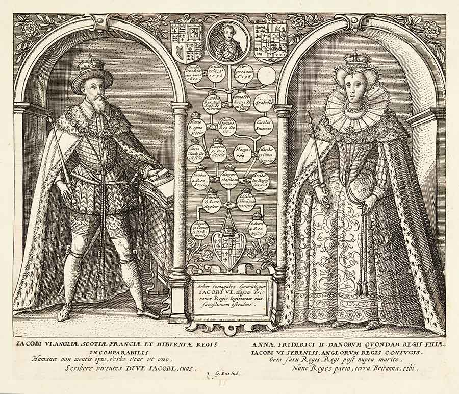 Engraving of James I and his spouse, Anne of Denmark, from Biographical History of England, from Egbert the Great to the Revolution, 1769, extra-illustrated by Richard Bull (1725–1806). The Huntington Library, Art Collections, and Botanical Gardens.