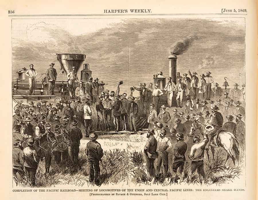 Harper's Weekly, America's leading illustrated periodical, celebrated the 1869 joining of the rails with this engraving reproduced from an original photograph.  The Huntington Library, Art Collections, and Botanical Gardens.