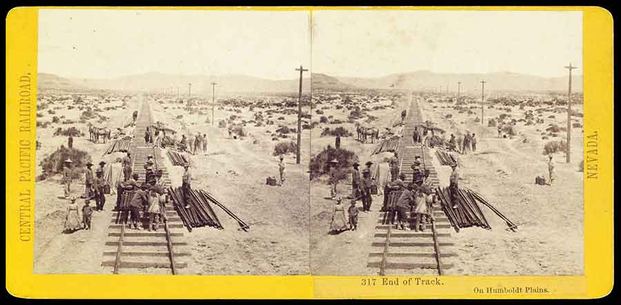 Chinese work crews provided the indispensable muscle for the backbreaking labor of building the Central Pacific Railroad, as seen in this stereograph by A. A. Hart. The Huntington Library, Art Collections, and Botanical Gardens.