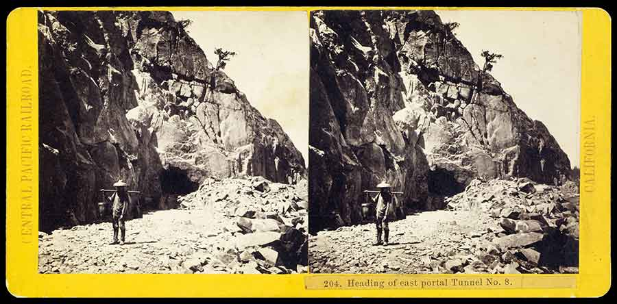 This A. A. Hart stereograph captures the staggering terrain that confronted the Central Pacific's Chinese laborers who bored through the Sierra Nevada.  The Huntington Library, Art Collections, and Botanical Gardens.