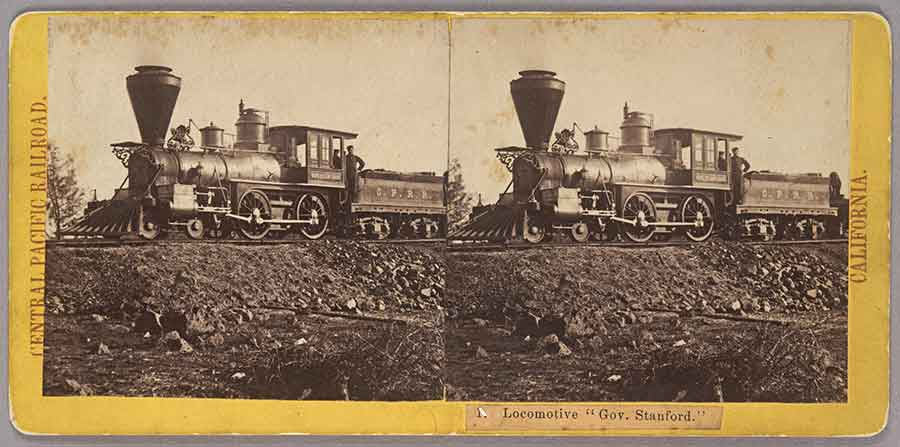 A stereograph by A. A. Hart of the Central Pacific Railroad's first locomotive, named after the company's president, Leland Stanford. The Huntington Library, Art Collections, and Botanical Gardens.