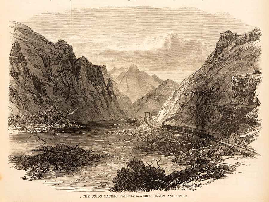 As construction of the Union Pacific's route approached Utah Territory, the railroad's workers battled the peaks and canyons of the Wasatch Mountains on their way to Promontory Summit, as seen in this Harper's Weekly engraving.  The Huntington Library, Art Collections, and Botanical Gardens.