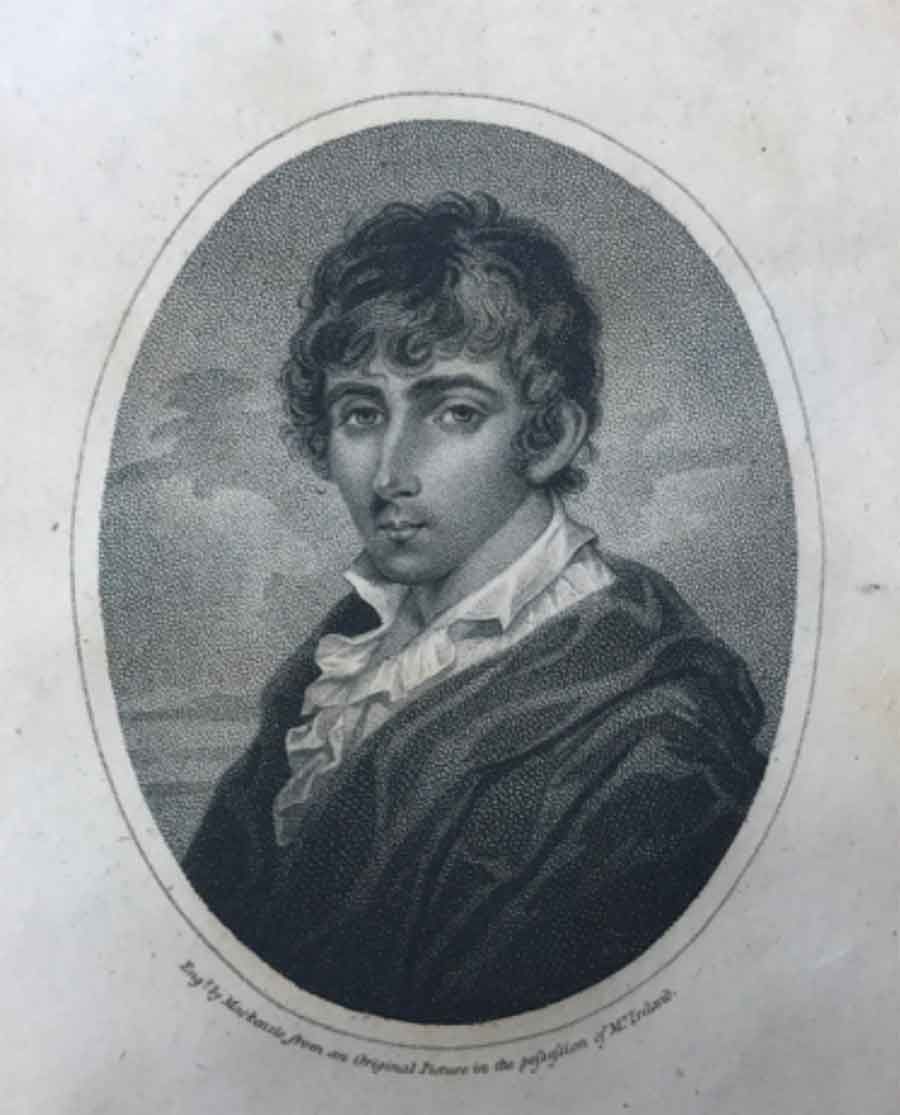 Image of William Henry Ireland, an engraving made in 1803. The Huntington Library, Art Museum, and Botanical Gardens.