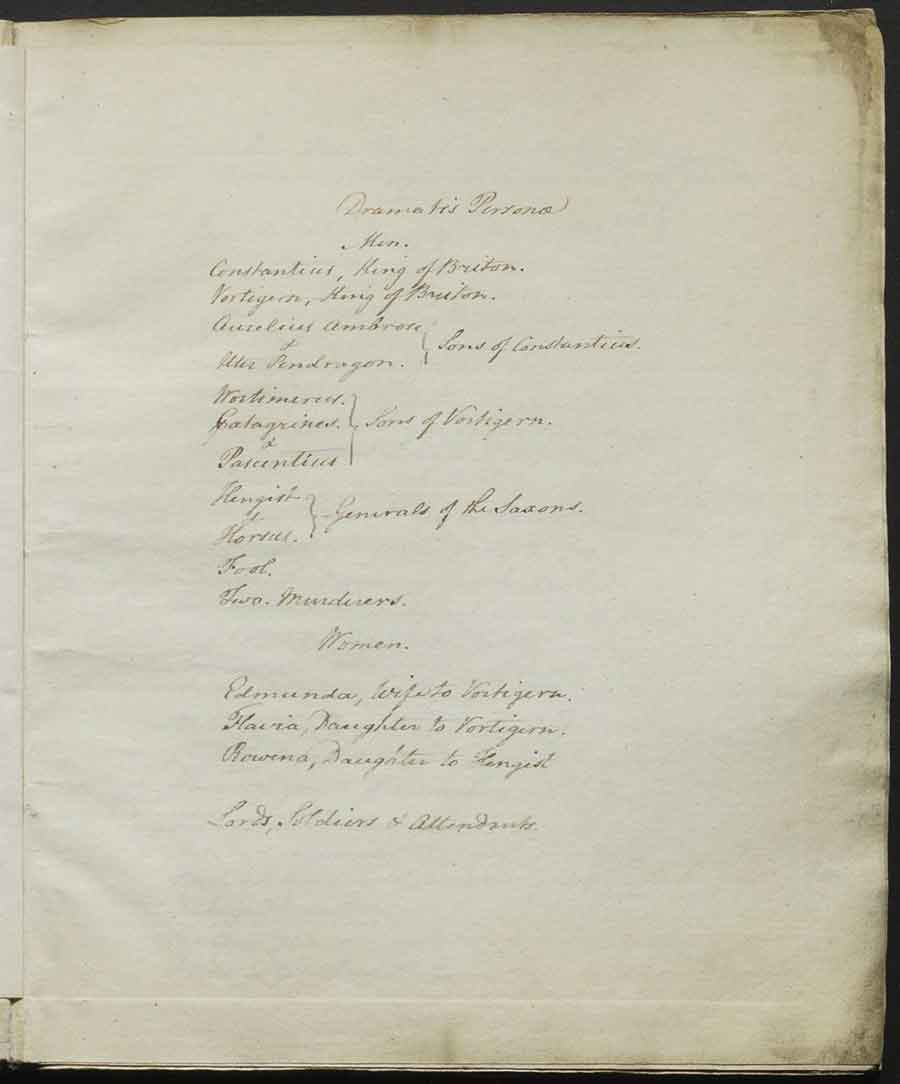 Dramatis personae from Vortigern, officially approved script submitted to Examiner of Plays John Larpent, February 2, 1796. The Huntington Library, Art Museum, and Botanical Gardens.