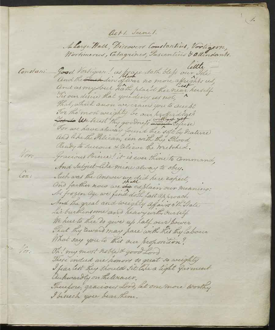 Beginning of Act 1, scene 1 from Vortigern, officially approved script submitted to Examiner of Plays John Larpent, February 2, 1796. The Huntington Library, Art Museum, and Botanical Gardens.