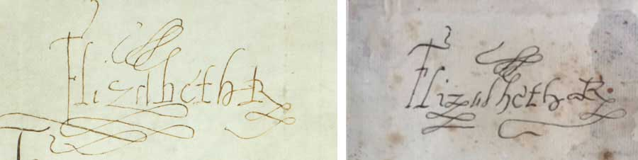 Left: Queen Elizabeth I's signature, October 20, 1573. Right: William Henry Ireland's forgery of Queen Elizabeth I's signature. The Huntington Library, Art Museum, and Botanical Gardens.