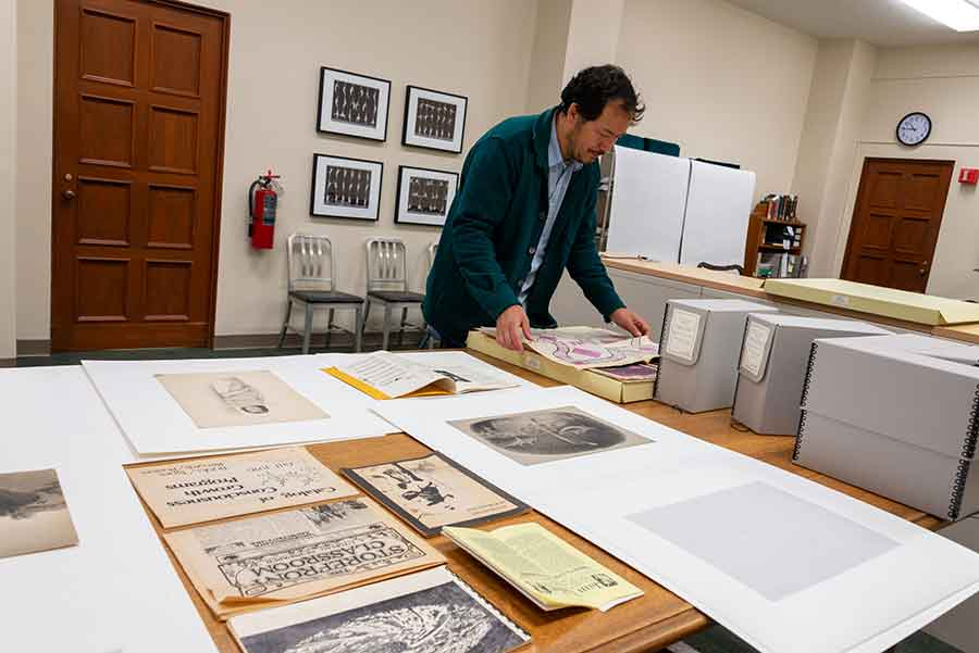 Artist, designer, writer, and educator Rosten Woo has been delving into the papers of Robert V. Hine (1921–2015), a scholar of the American West whose research focused on early utopian settlements in California. Photo by Kate Lain.