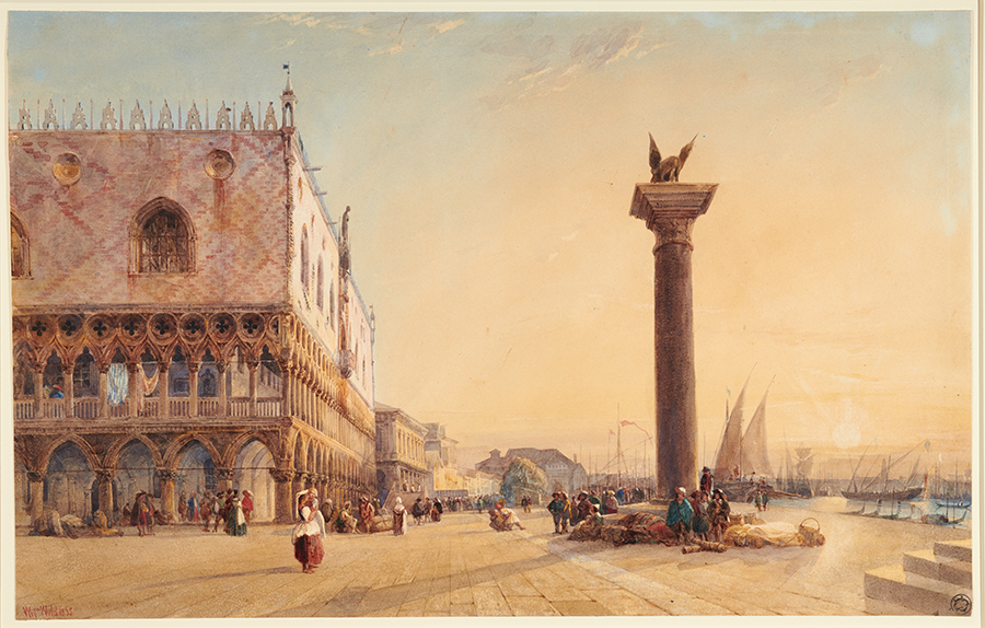 William Wyld (British, 1806–1889), Doge's Palace and Winged Lion of Saint Mark, 1835, watercolor. Gilbert Davis Collection. The Huntington Library, Art Collections, and Botanical Gardens.