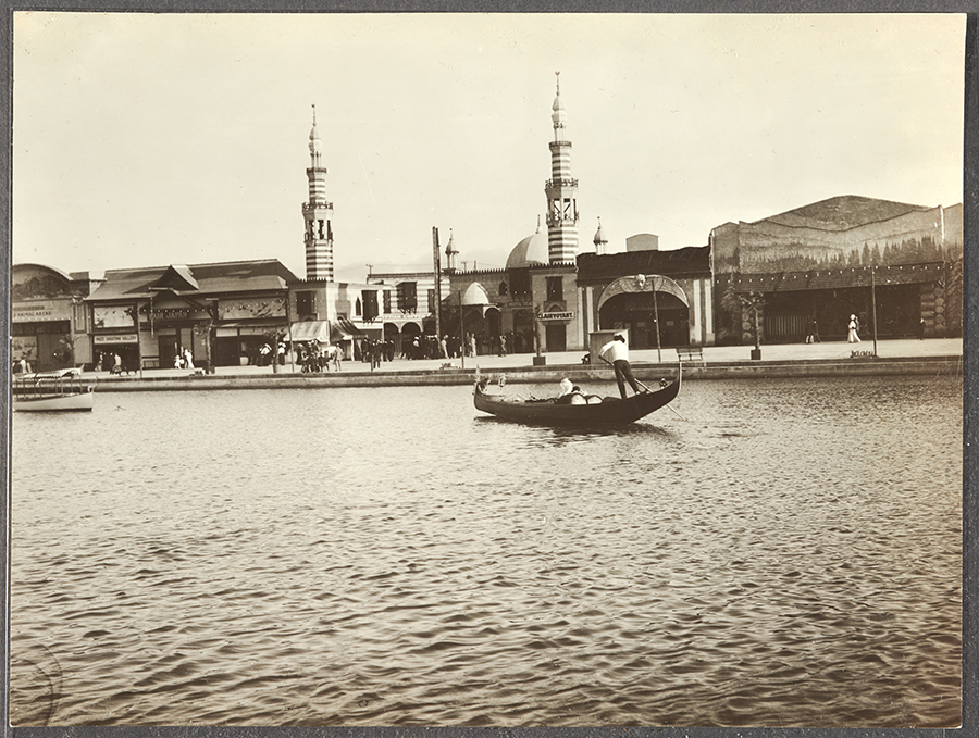 "Unknown photographer, Gondola, Lagoon, and Midway Plaisance in ""Venice of America,"" ca. 1906–1910, photograph. Pacific Electric Railway Company Photographs. The Huntington Library, Art Collections, and Botanical Gardens."