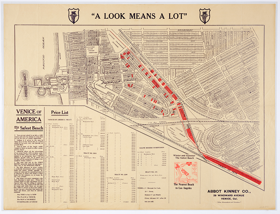 "Abbot Kinney Co., Map of ""Venice of America"", ca. 1911. The Huntington Library, Art Collections, and Botanical Gardens."