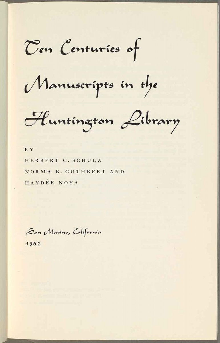In 1962, Noya contributed to The Huntington publication Ten Centuries of Manuscripts in the Huntington Library, along with coauthors Herbert C. Schultz, curator of manuscripts, and Norma B. Cuthbert. Noya wrote the chapter on the manuscripts of the Pacific Southwest and Spanish Americana.