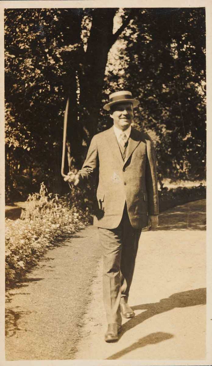 Photograph of Wallace Stevens twirling a cane, circa 1922, Wallace Stevens papers. Unknown photographer. The Huntington Library, Art Collections, and Botanical Gardens.