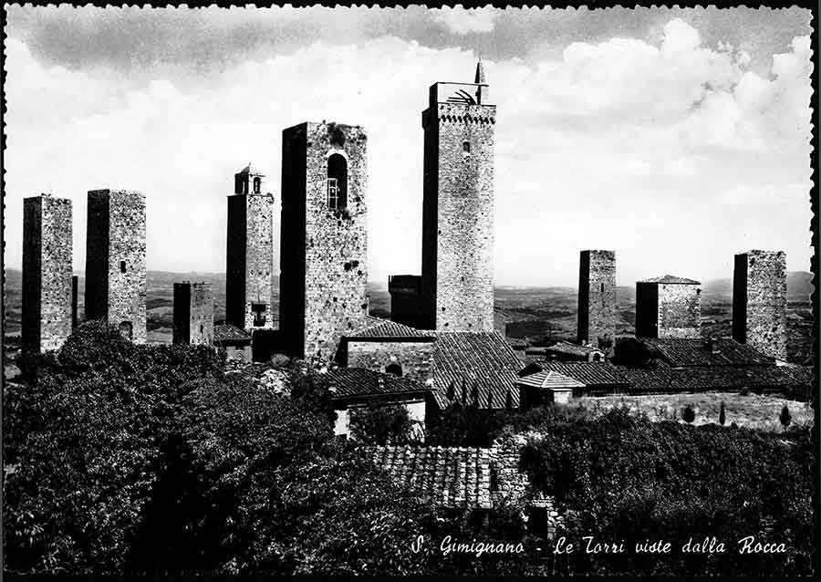 Postcard of the towers of San Gimignano in Italy that his friend Barbara Church sent to Wallace Stevens on Sept. 28, 1952. Stevens came to enjoy dreamed-up visits around the world through a large network of correspondents. The Huntington Library, Art Collections, and Botanical Gardens.