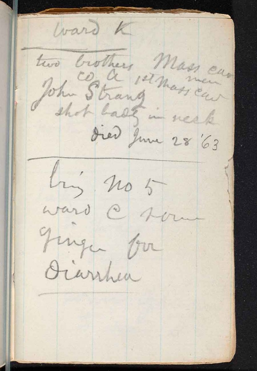 "Page 13 of Whitman's hospital notebook: ""ward K / two brothers Mass cav men / co A 1st Mass cav / John Strang / shot badly in neck / died June 28 '63 / bring no 5 / ward C some / ginger for / diarrhea."" The Huntington Library, Art Museum, and Botanical Gardens."