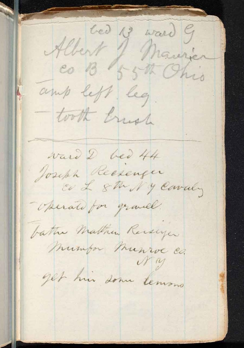 "Top of page 19 in Whitman's hospital notebook: ""bed 13 ward G / Albert J Maurier / co B 55th Ohio / amp left leg / tooth brush."" The Huntington Library, Art Museum, and Botanical Gardens."