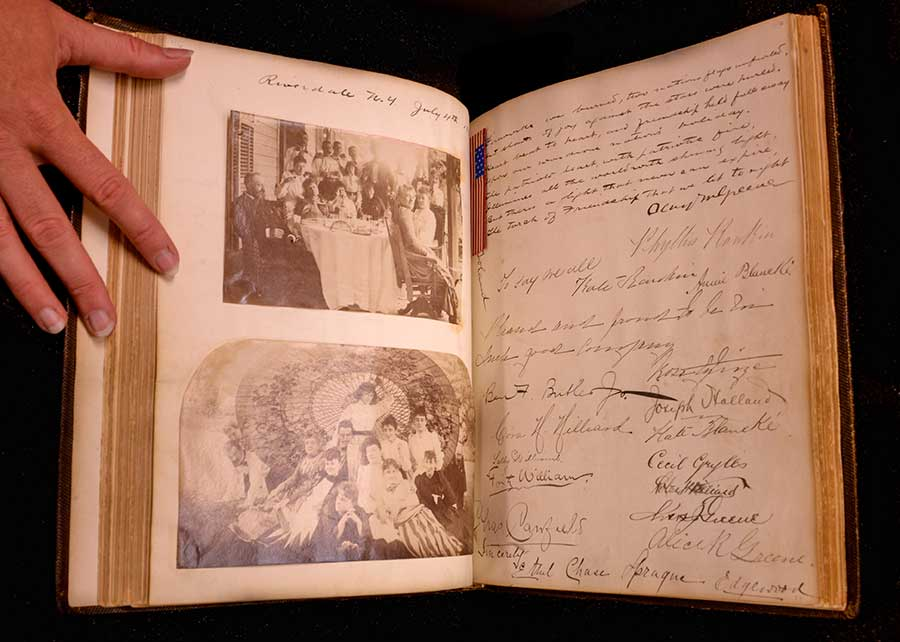 Autograph album of American author and poet Charles Warren Stoddard, created 1863–1897. This album contains handwritten notes, letters, poems, and drawings by approximately 200 friends and acquaintances of Stoddard, including leading American literary figures, journalists, poets, critics, politicians, and actors of the late 19th century. Photo by Deborah Miller.