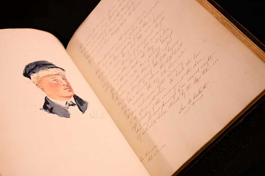 An original illustration by an unknown artist alongside a handwritten poem by California's first poet laureate, Ina D. Coolbrith, found within the pages of Stoddard's autograph album. Photo by Deborah Miller.