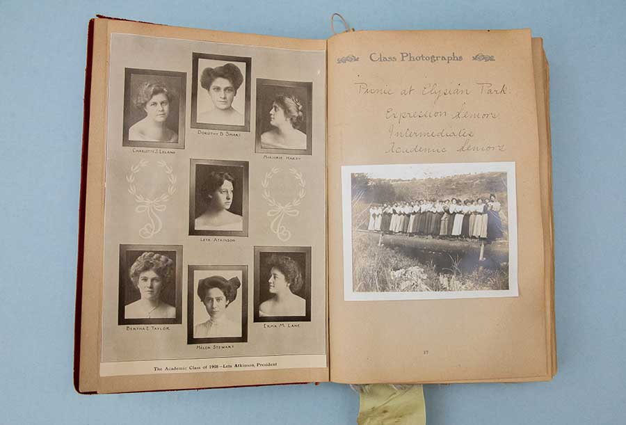 A scrapbook containing photographs, writings, and ephemera related to student Bertha Taylor's tenure at, and graduation from, the Cumnock School of Expression in Los Angeles, Calif., in 1908. Photo by Deborah Miller.