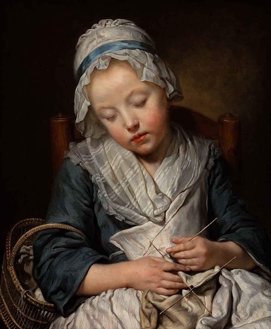 Jean-Baptiste Greuze, Young Knitter Asleep, ca. 1759, oil on canvas, 27 x 22 in. Adele S. Browning Memorial Collection, gift of Mildred Browning Green and Honorable Lucius Peyton Green. The Huntington Library, Art Museum, and Botanical Gardens.