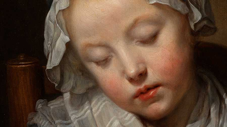 Greuze depicts his sitter in all her youthful beauty with rosebud lips and delicate, porcelain-like skin. Jean-Baptiste Greuze, detail of Young Knitter Asleep, ca. 1759, oil on canvas, 27 x 22 in. Adele S. Browning Memorial Collection, gift of Mildred Browning Green and Honorable Lucius Peyton Green. The Huntington Library, Art Museum, and Botanical Gardens.