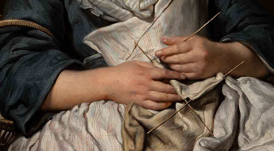 The young girl has fallen asleep while knitting. Her hands loosely hold the four fine needles required to create the enclosed shape of a stocking, whose toe curls in her lap. Jean-Baptiste Greuze, detail of Young Knitter Asleep, ca. 1759, oil on canvas, 27 x 22 in. Adele S. Browning Memorial Collection, gift of Mildred Browning Green and Honorable Lucius Peyton Green. The Huntington Library, Art Museum, and Botanical Gardens.